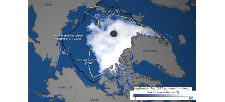 Banquise arctique en septembre 2012