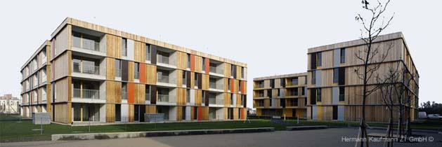 Réalisation en bois d'Hermann Kaufmann, architecte autrichien issu d'une lignée de charpentiers du Vorarlberg.