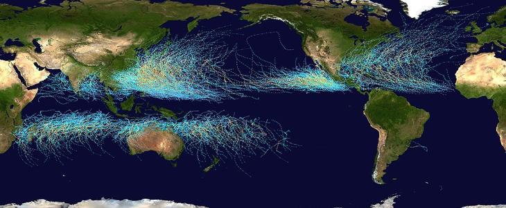 Trajets cumulatifs des cyclones