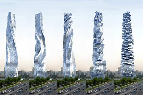 Un concept futuriste de gratte ciel rotatif univers for Location garage villeurbanne gratte ciel